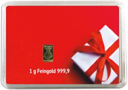 1g Feingoldbarren, Geschenk