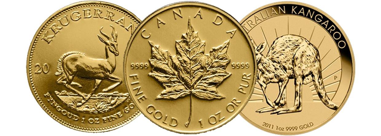 1 Unze Krügerrand gold, 1 Unze Maple Leaf gold, 1 Unze Nugget gold