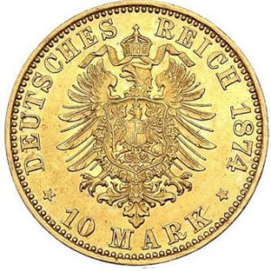 1874 Preußische 10 Mark Münze