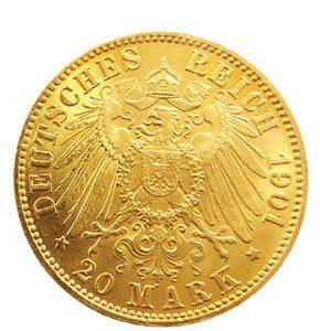 20 Mark Doppelkrone Münze Deutsches Reich 1901
