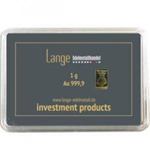 Geschenkkapsel Goldbarren 1g Lange Edelmetall