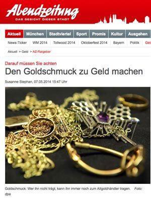 Artikel Abendzeitung den Goldschmuck zu Geld machen